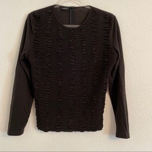 Akris Punto black ruched long sleeve top shirt 8